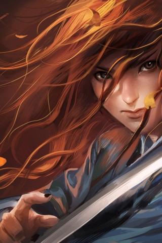 Art-Girl-Ginger-Samurai-Sword-Katana-Leaves-480x320